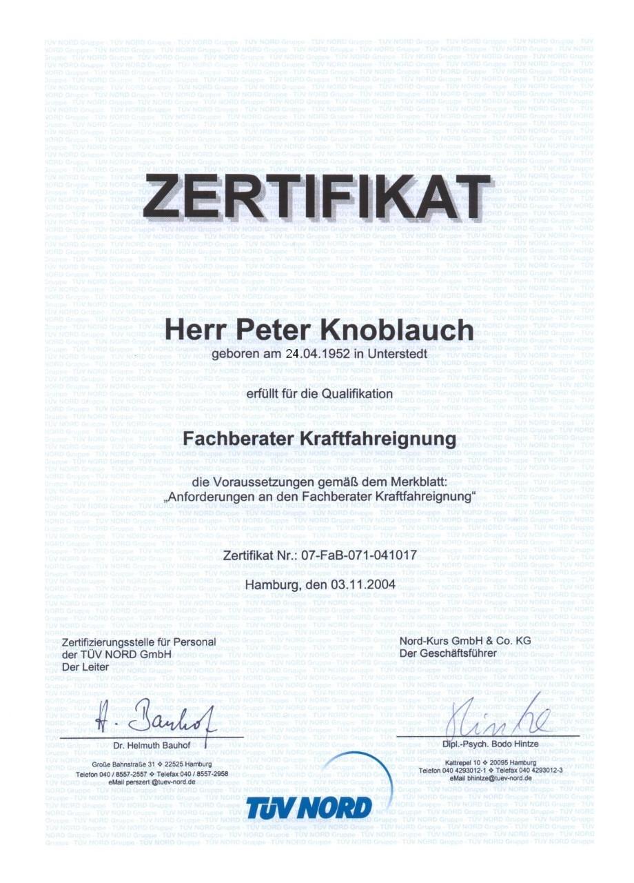 Zertifikat der MPU Beratung Recklinghausen